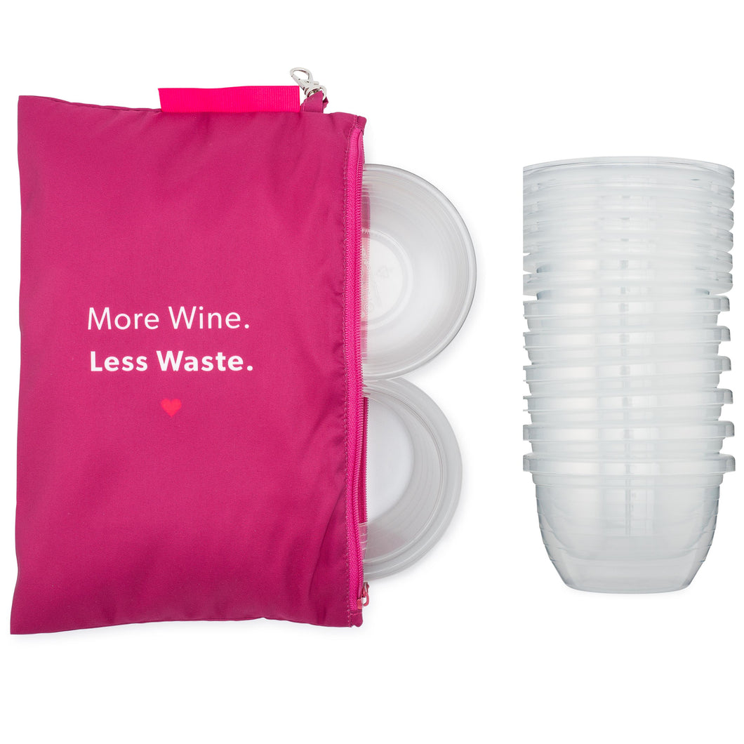 A large Halo Tote filled with HaloVino wine tumblers next to a stack of tumblers.