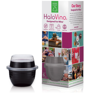 HaloVino Shatterproof Stackable Sustainable Dishwasher safe Recyclable Wine Glasses