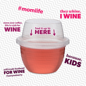 One HaloVino wine tumbler surrounded by five of the sayings for mom.