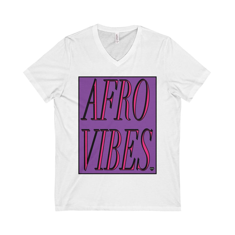 Purple Afro Vibes Unisex  Short Sleeve V-Neck Tee Tan