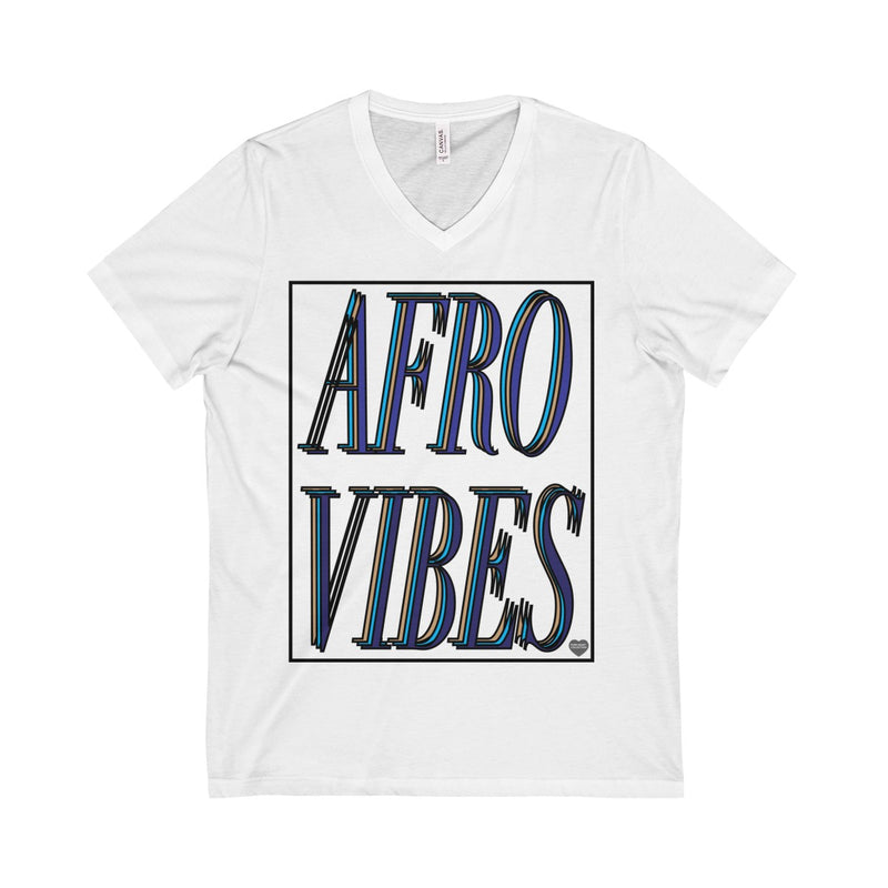 Teal Afro Vibes Unisex  Short Sleeve V-Neck Tee