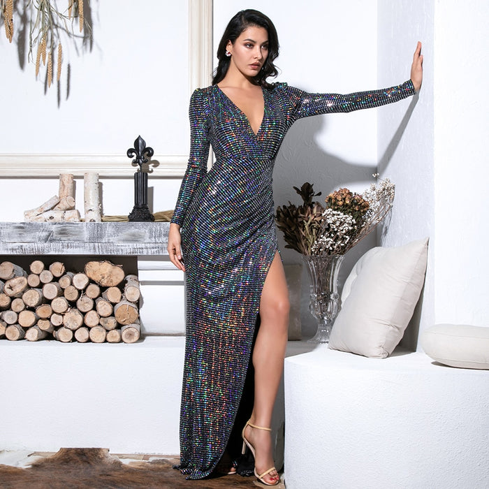 Moire Deep V gown