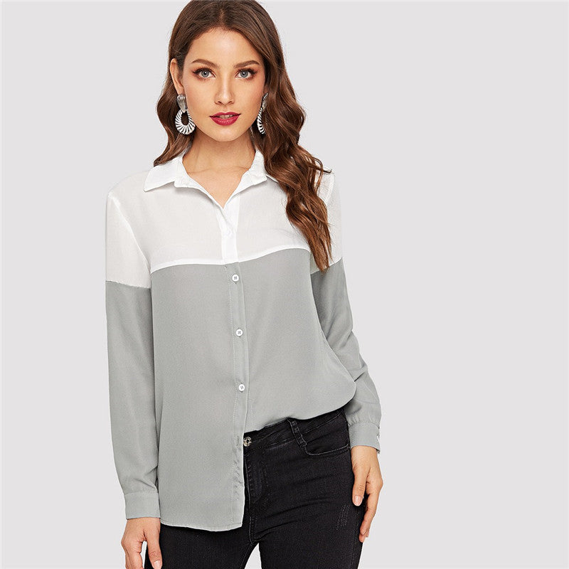 Grey block button-up shirt