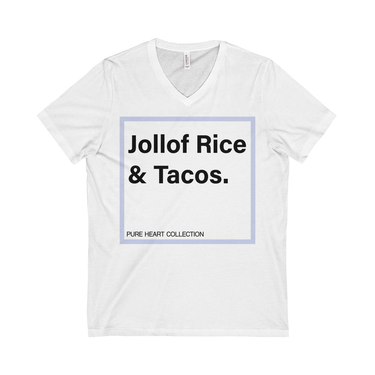 Jollof Rice & Tacos Unisex  Short Sleeve V-Neck Tee