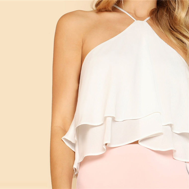 Ruffle Tiered Halter Top