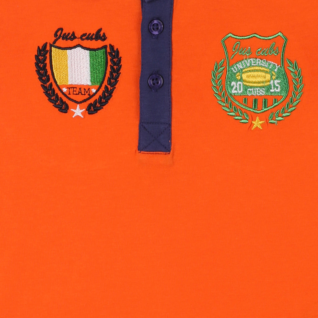 JusCubs Boys  Fashion Polo  T-Shirt- Orange