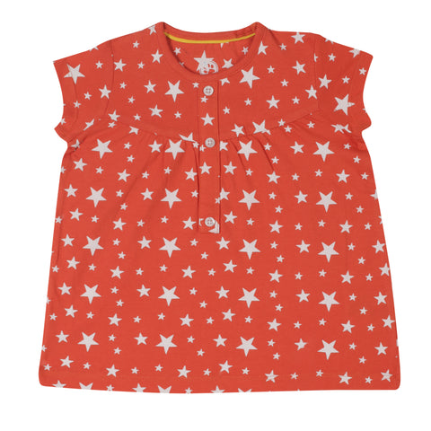 Jus Cubs Girls AOP Printed T-Shirt - Orange