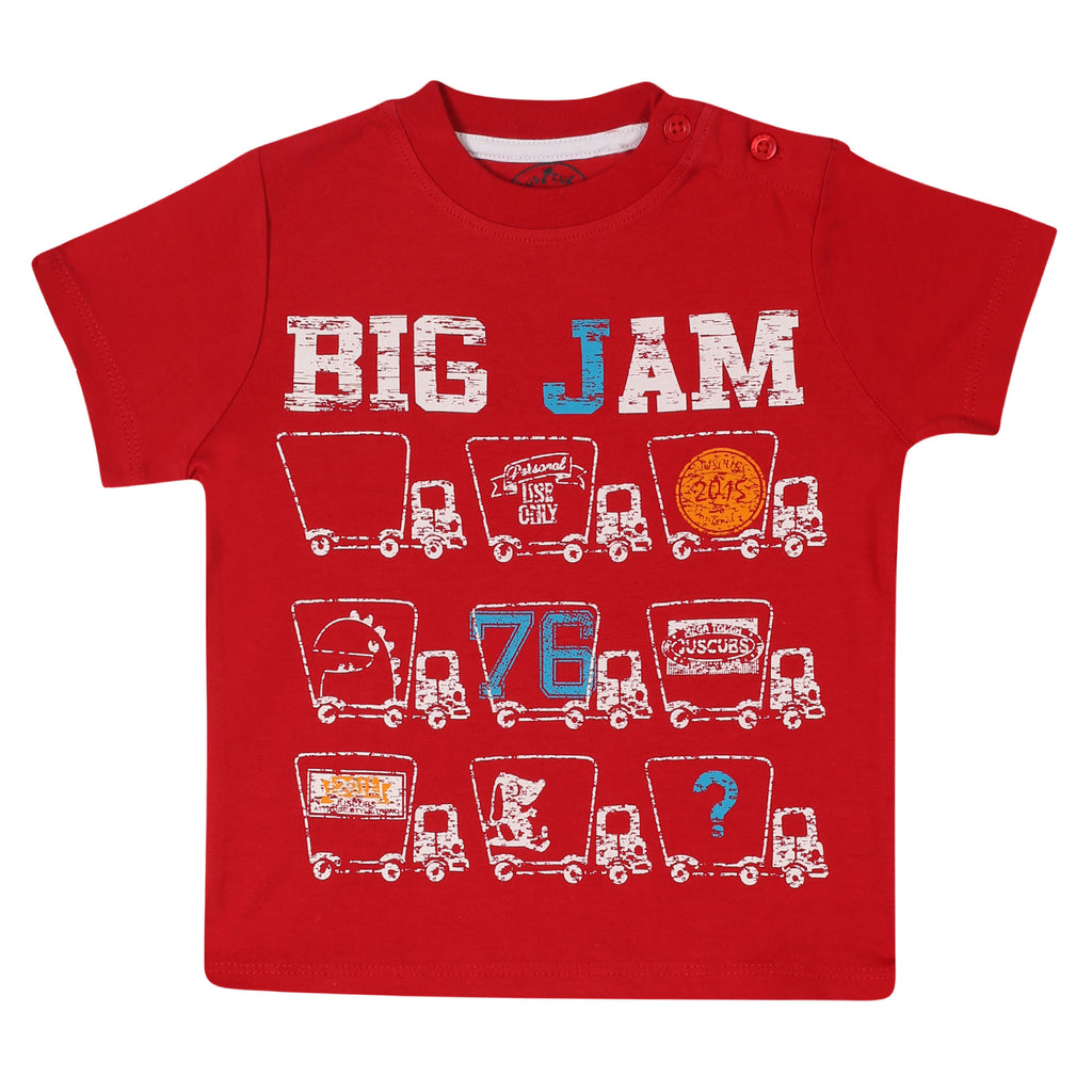 JusCubs Boys Big Jam Printed T-Shirt-Red