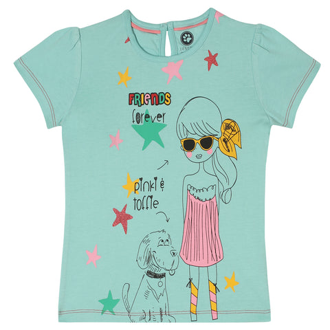 Jus Cubs Girls Friends For Ever Printed T-Shirt - Teal