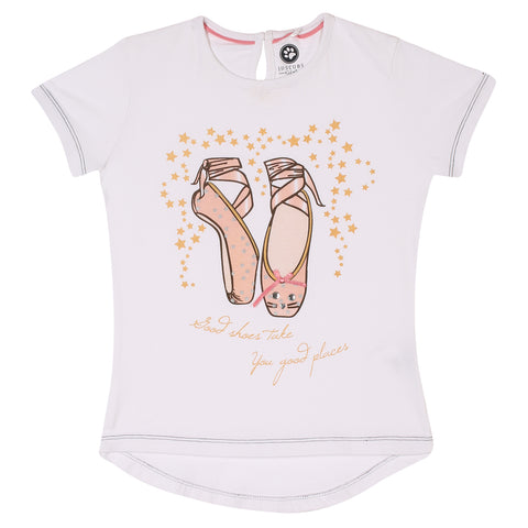 JusCubs Girls Good Shoes Take You Good Places Printed T-Shirt - White