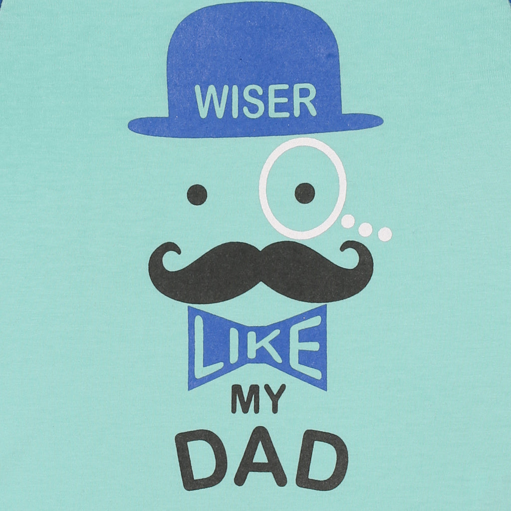 JusCubs Boys Wiser Like My Dad Printed T-Shirt - Blue