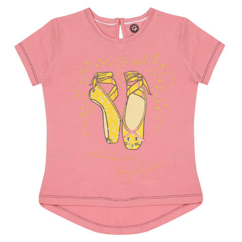 JusCubs Girls Good Shoes Take You Good Places Printed T-Shirt - Pink
