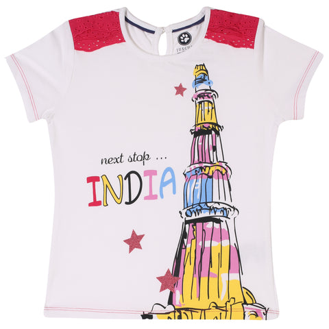 Jus Cubs Girls Next Stop India Printed t-Shirt - White