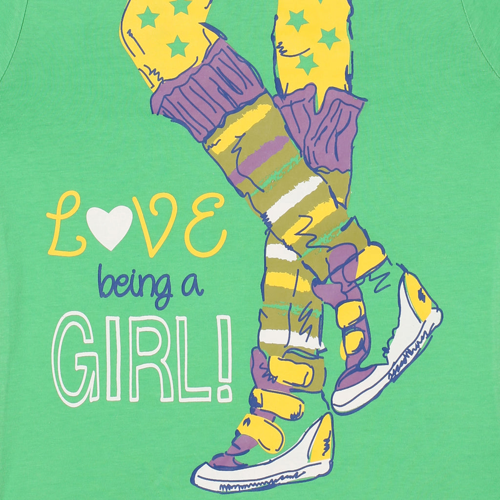 Jus Cubs Girls Love Being Girl Printed T-Shirt - Green