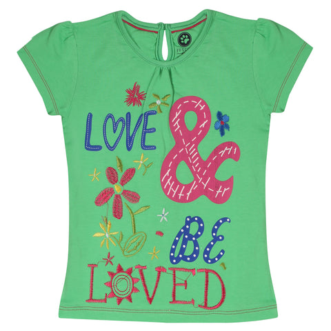 JusCubs Girls lOVE & Be Loved Printed T-Shirt - Green