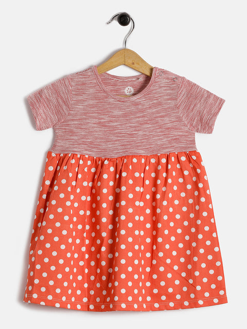 JusCubs Full Sleeves Polka Dot  Dress - Pink
