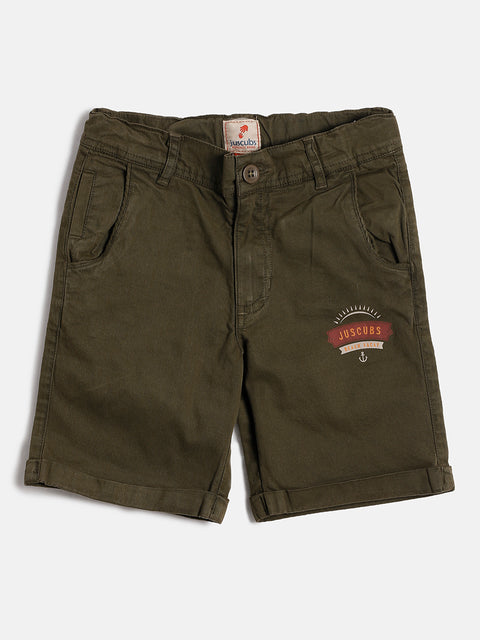 JusCubs Boys Solid Woven Olive Shorts