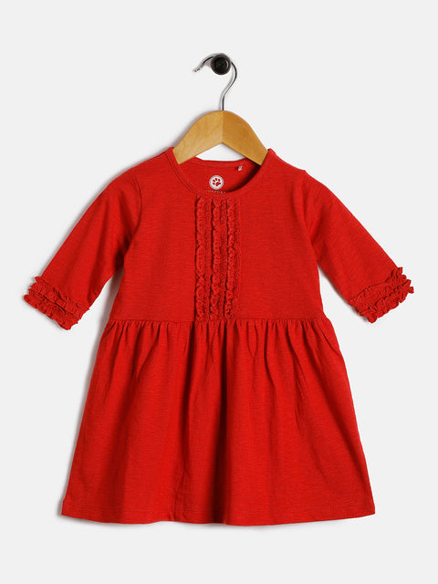 Jus Cubs Full Sleeves Ruffle Detail Dress - Red