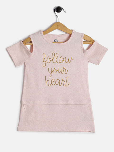 JusCubs Girls Follow your Heart off Shoulder Tee - Pink