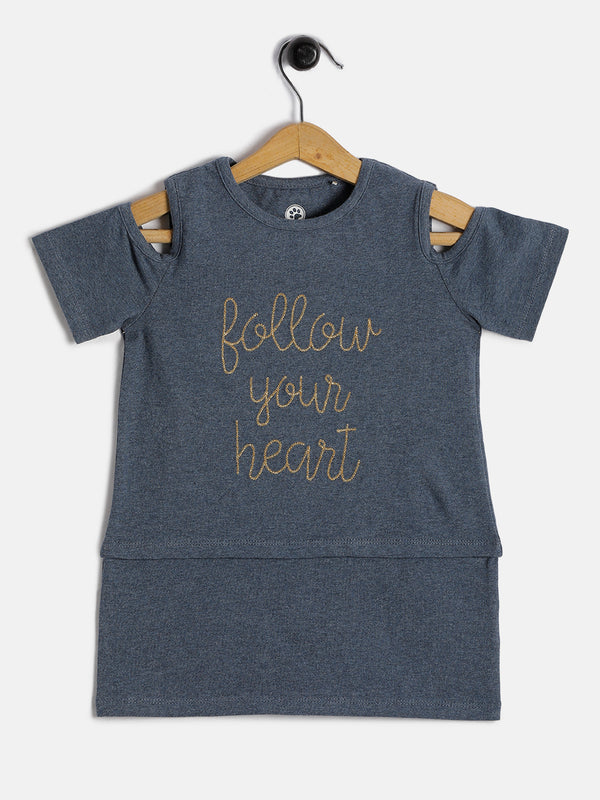 Copy of JusCubs Girls Follow your Heart off Shoulder Tee - Navy Melange