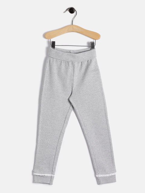 JusCubs Girls Fashion Rib Fabric Pant - Grey Melange