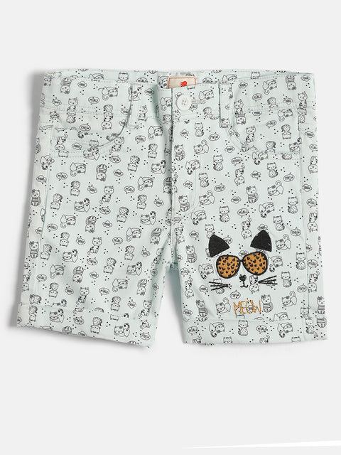 JusCubs Kitty Print Girls Woven Shorts - Green