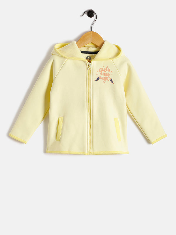 JusCubs Girls are angles Printed With Zipper Hoodie Jacket - Yellow