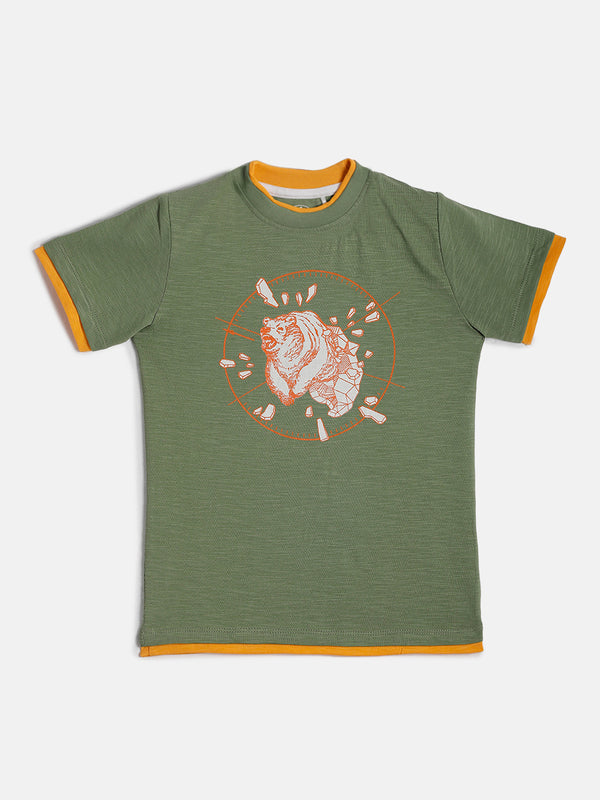 JusCubs boys Bear Print T-Shirt - Olive