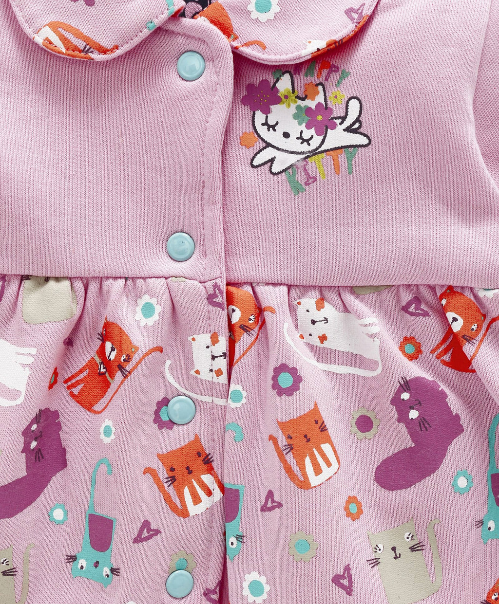 Jus Cubs Girls Happy Kitty Printed Jacket-Pink