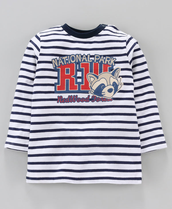 Jus Cubs Striped Full Sleeves Tee - Dark Blue