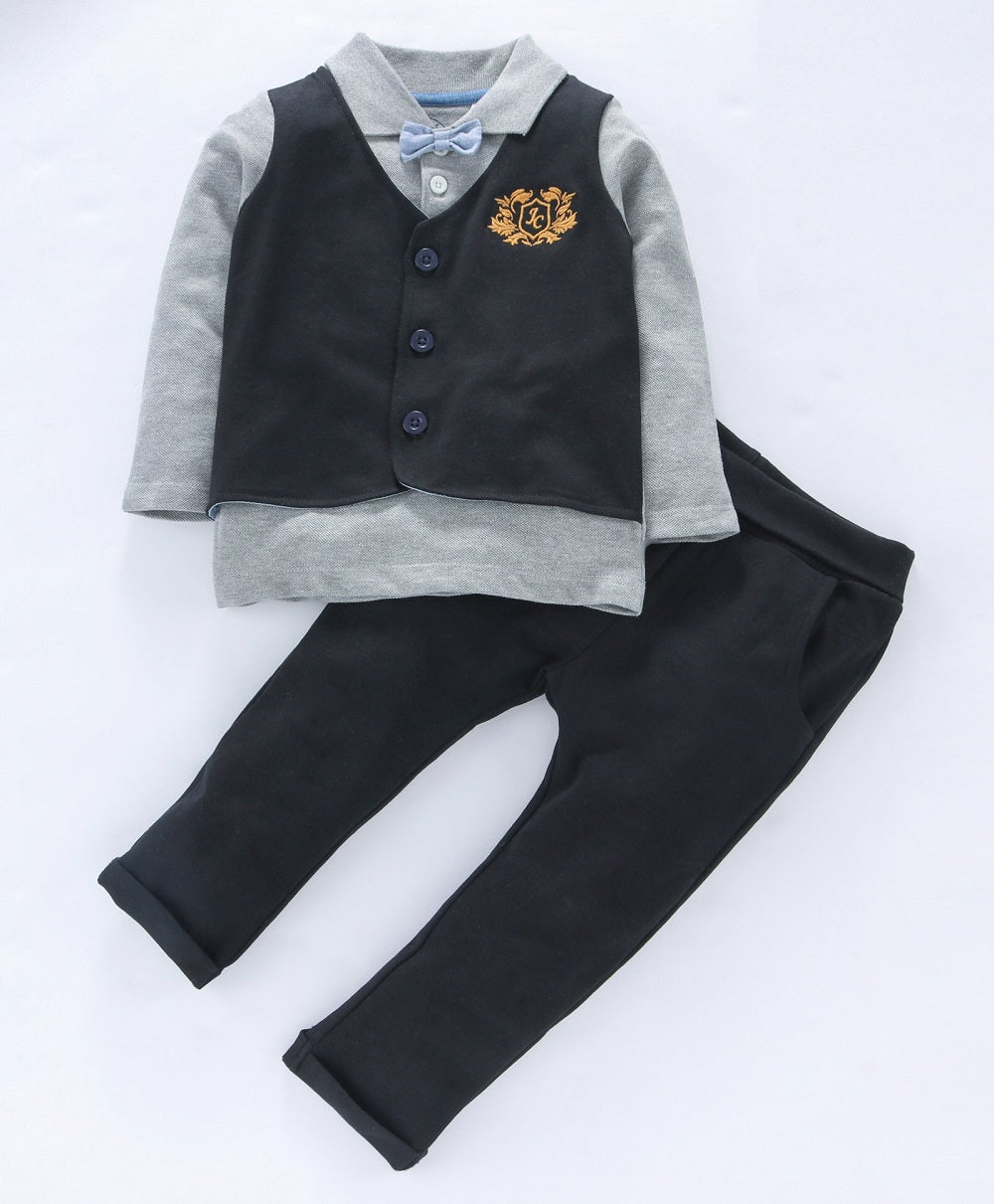 Jus Cubs Solid Full Sleeves Tee With Attached Waistcoat & Bow Tie With Pants - Grey