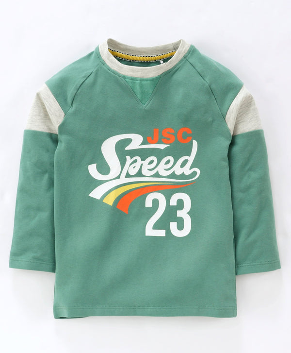Jus Cubs Speed 23 Printed Full Sleeves Tee - Green