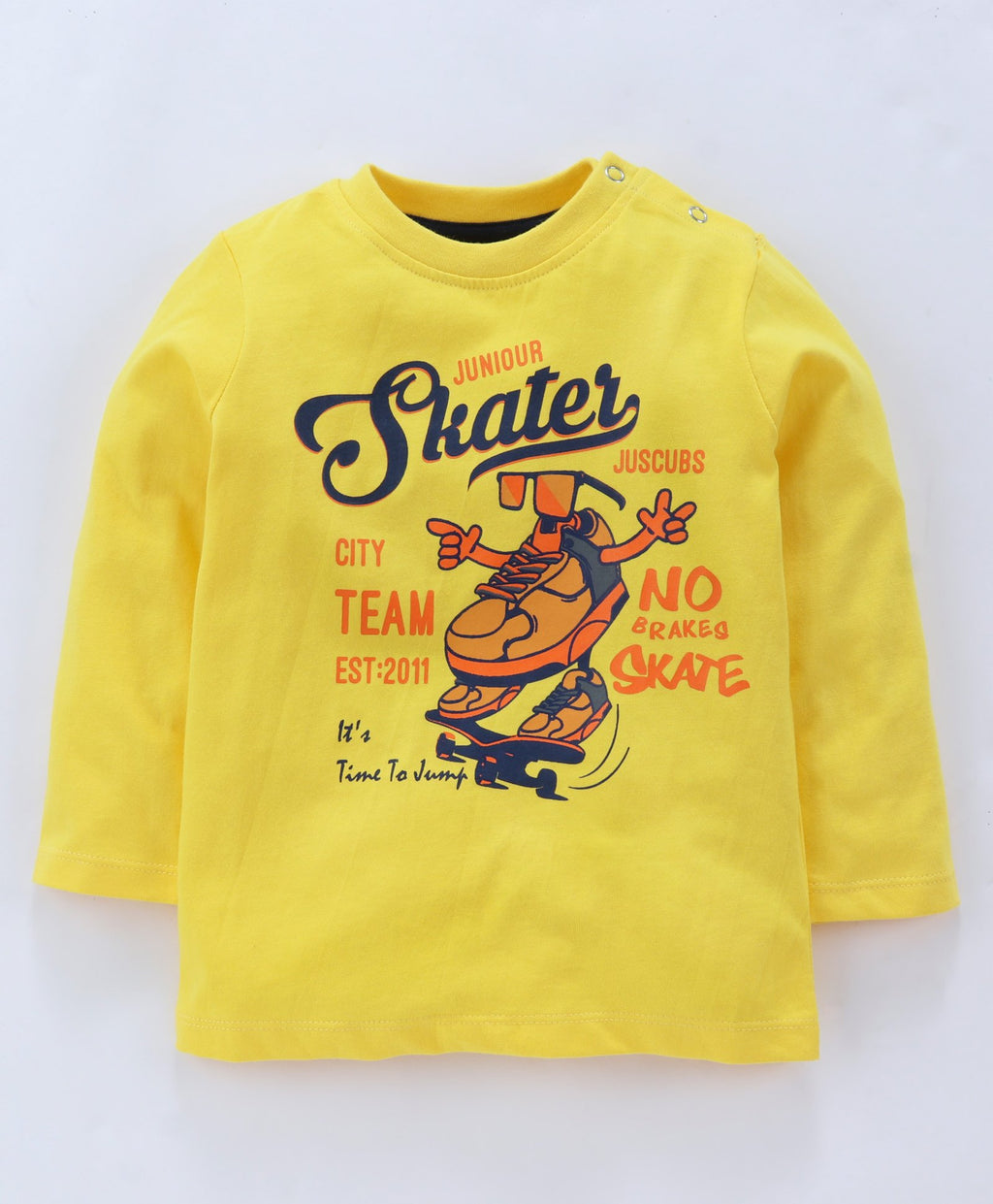 Jus Cubs Skater Printed Full Sleeves Tee - Yellow
