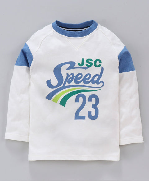 Jus Cubs Speed 23 Printed Full Sleeves Tee - White