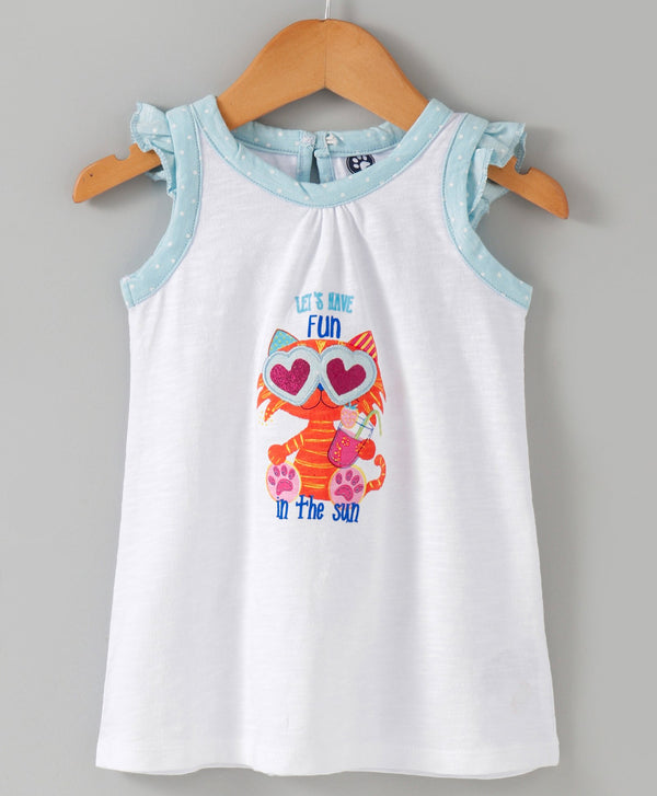 Jus Cubs Girls Let have fun in the Shine - Top White
