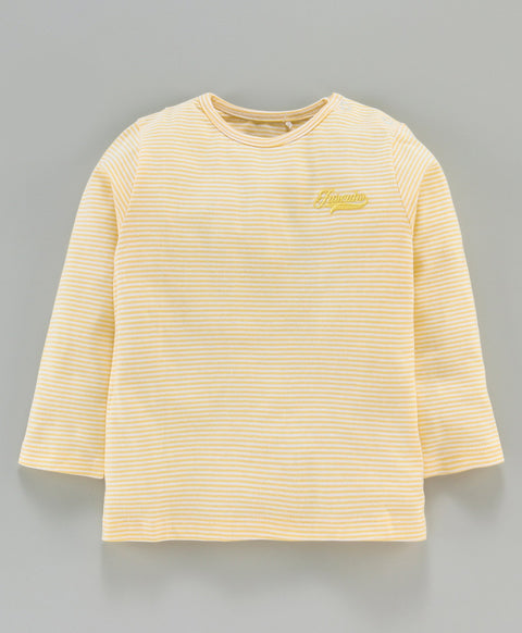 Jus Cubs Striped Full Sleeves Tee - Yellow