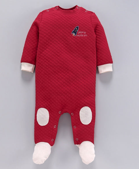 JusCubs Rocket Patch Full Sleeves Romper - Red