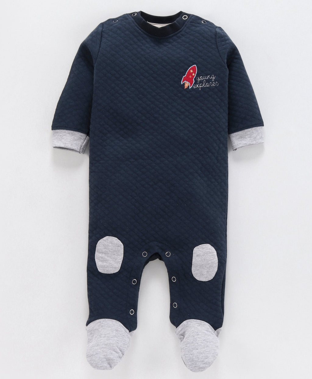 JusCubs Rocket Patch Full Sleeves Romper - Navy Blue