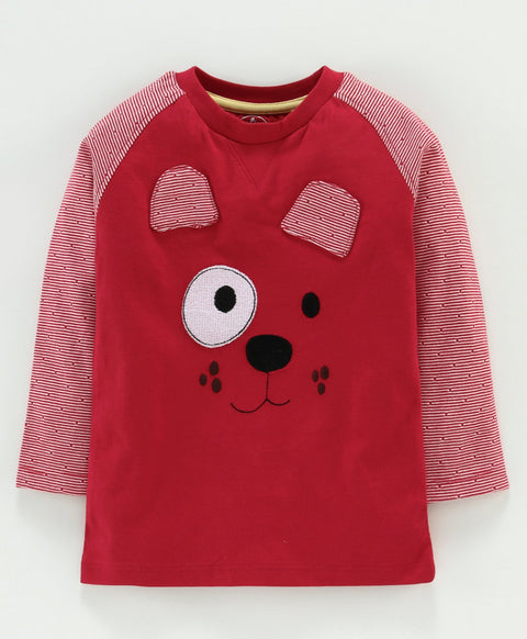 Jus Cubs Bear Face Patch Full Sleeves Tee - Red