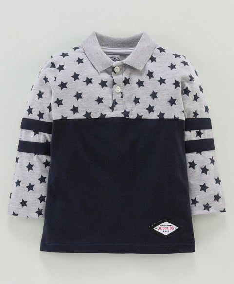 Jus Cubs Star Print Full Sleeves Polo Tee - Navy