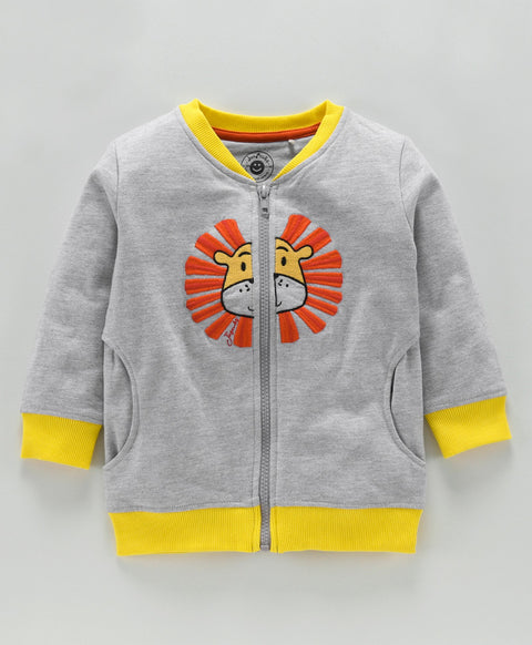 JusCubs Boys lion Embroidery Work Zipper Jacket