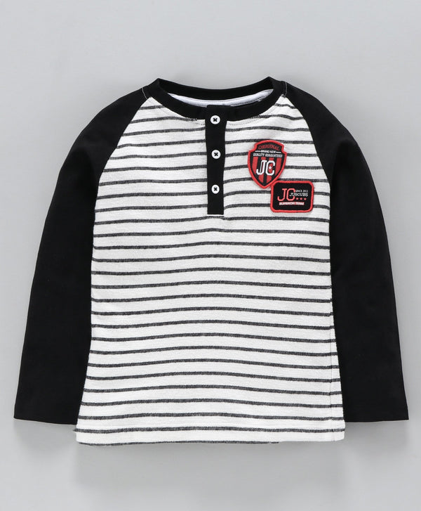 Jus Cubs Striped Full Sleeves Tee - White & Black