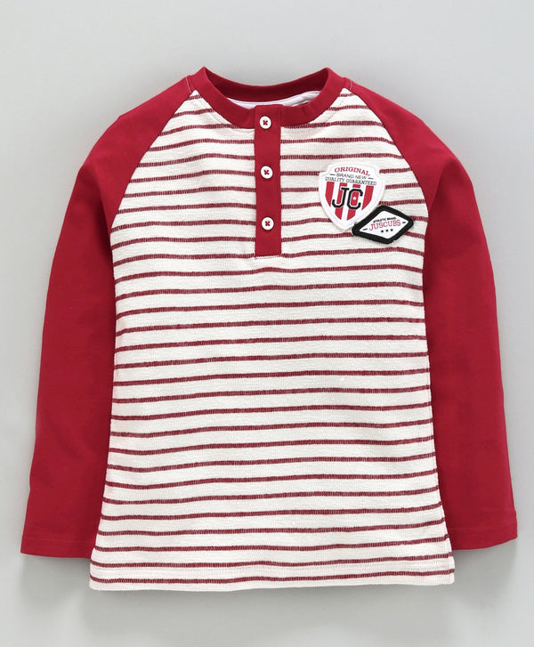 Jus Cubs Striped Full Sleeves Tee - White & Red