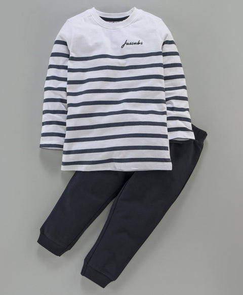 Jus Cubs Striped Full Sleeves Track Suit - White & Navy Blue