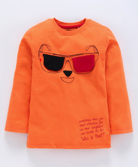 Jus Cubs Sun Glass Patch Full Sleeves Tee - Orange