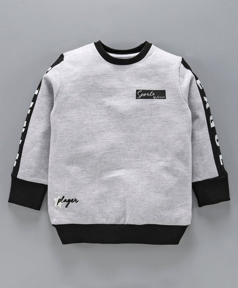 Jus Cubs Side Tape Full Sleeves Sweatshirt - Grey