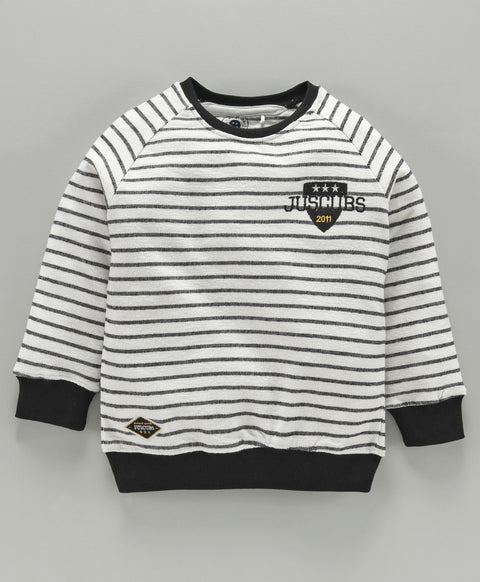 Jus Cubs Striped Full Sleeves Sweatshirt - White