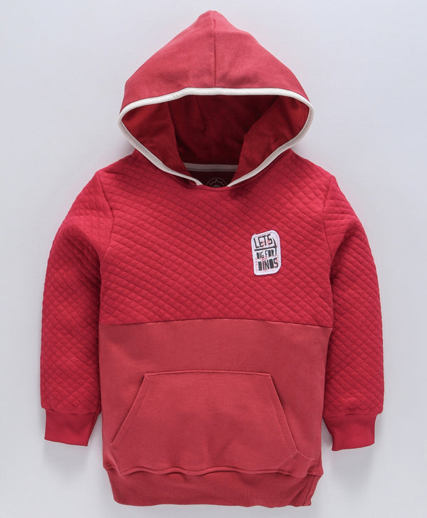 Jus Cubs Solid Full Sleeves Front Pocket Hoodie - Red