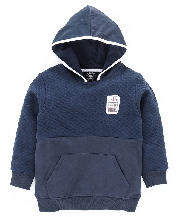 Jus Cubs Solid Full Sleeves Front Pocket Hoodie - Navy