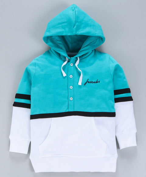 Jus Cubs Dual Shaded Full Sleeves Hoodie - Teal & White